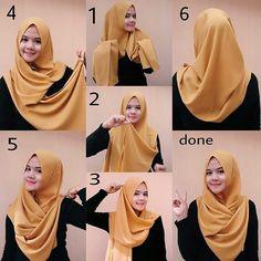 Folded Chest Coverage Hijab Tutorial - Hijab Fashion Inspiration This hijab loo. Folded Chest Coverage Hijab Tutorial – Hijab Fashion Inspiration This hijab look is so simple an Tutorial Hijab Segitiga, Square Hijab Tutorial, Simple Hijab Tutorial, Abaya Fashion, Muslim Fashion, Hijab Dress, Hijab Outfit, Beau Hijab, How To Wear Hijab