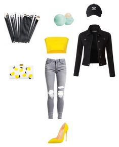 """""""Untitled #26"""" by sara-balut on Polyvore featuring AMIRI, Liviana Conti, LE3NO, Edie Parker, Eos and adidas"""