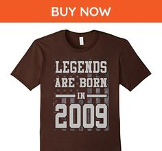 Mens Legends Born In 2009 Birthday Gift For 8 Years Old  Large Brown - Birthday shirts (*Amazon Partner-Link)