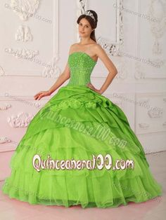 Fabulous Multi-tiered Spring Green Sweet 16 Dresses with Beading
