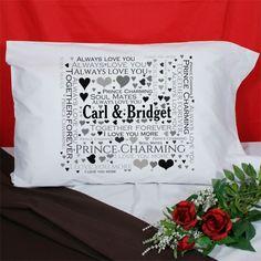 Loving Couple Word-Art Personalized Pillowcase  GiftsForYouNow
