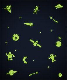 Céu espacial. adesivo de teto ou parede que brilha no escuro com diversos elementos. Criado por Leo Conrado.