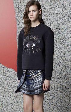 @roressclothes clothing ideas #women fashion KENZO Black Eye-embroidered Sweater