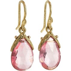 Gabrielle Sanchez Faceted Pink Topaz Earrings ($1,050) ❤ liked on Polyvore featuring jewelry, earrings, accessories, pink, jewels, apparel & accessories, women, 18 karat gold jewelry, pink jewelry and teardrop earrings