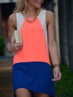 Blue White Sleveless Color Block Dress