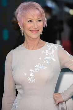 Helen Mirren's pink pixie - so I'm NOT the oldest woman in the world dying her hair pink! GO HELEN!!!❤️❤️❤️