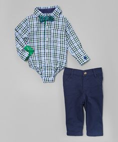 Look what I found on #zulily! Andy & Evan Green Gingham Bodysuit Set - Infant by Andy & Evan #zulilyfinds
