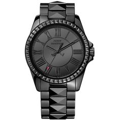 Juicy Couture Stella Black Ceramic Watch ($395) ❤ liked on Polyvore featuring jewelry, watches, accessories, bracelets, relogio, black, black ceramic watches, black face watches, juicy couture jewelry and juicy couture watches