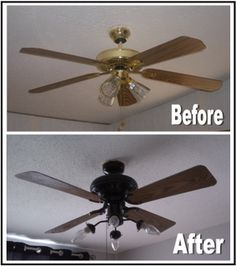 Spray paint old ceiling fans for an instant makeover. This makes a huge difference to the space and takes less than an hour.