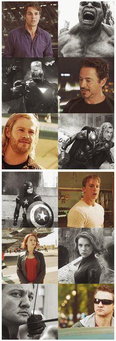 Bruce/Hulk, Tony/Iron Man, Thor, Steve/Captain America, Natasha/Black Widow, Clint/Hawkeye.