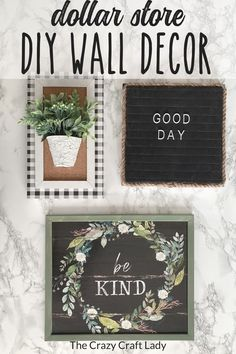 Check out my latest dollar store craft and decor finds - how to make gorgeous high-end farmhouse wall decor with Dollar Tree supplies - framed wall art, potted floral wall hanging ,and a fun little letterboard. #dollartreedecor #dollarstorecraft Dollar Tree Finds, Dollar Tree Decor, Dollar Store Crafts, Dollar Stores, Home Decor Inspiration, Decor Ideas, Craft Ideas, Farmhouse Light Fixtures, Farmhouse Wall Decor