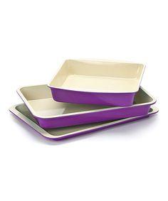 Look what I found on #zulily! Purple Ceramic Baking Dish Set #zulilyfinds