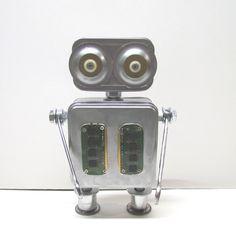 Oggetti trovati Robot scultura / assemblaggio Robot Figurine