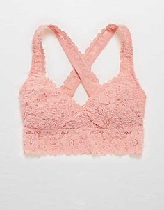 Aerie Lace Cross-Back Bralette , Preppy Pink | Aerie for American Eagle