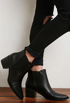 Faux Leather Chelsea Booties - Womens shoes and boots | shop online | Forever 21 - 2000183391 - Forever 21 EU