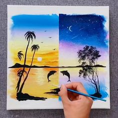 Paint day and night Canvas Painting Tutorials, Acrylic Painting Canvas, Acrylic Painting Techniques, Watercolor Paintings, Watercolor Artists, Painting Lessons, Drawing Techniques, Abstract Paintings, Painting Art