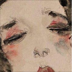 Egon Schiele, Ragazza dai capelli neri con gonna sollevata (dettaglio: stupendo!), 1911.