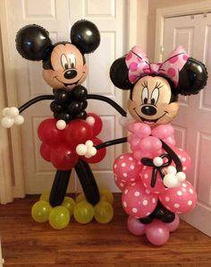 Michey e Minnie feitos com bexigas ... lindos!!!