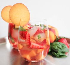 Rose Sangria with Strawberries, Peaches and Basil. (Plus a hilarious how-to video.)