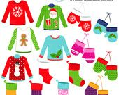 Christmas Clothing Clipart Set - clip art set of mittens, sweaters, stockings, xmas - personal use, small commercial use, instant download