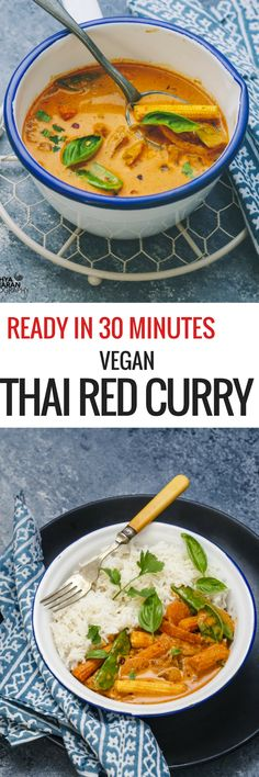30 MINUTES VEGAN THAI RED CURRY ! Full of deliciousness and loaded with vegetables. #vegan #thai #redcurry #curry