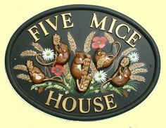 Field Mice on corn - raised designs with the background scene flat painted in the area available - all signs are produced with raised letters and cast as one-piece Field Mice, Polymer Resin, House Signs, Animal Design, House Painting, Scene, Letters, Hand Painted, Flat