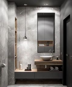 Monochrome interior guest bathroom in the project @ Due literate …. Monochrome interior guest bathroom in the project @ Due literate … Contemporary Grey Bathrooms, Grey Bathrooms Designs, Bathroom Design Luxury, Bathroom Design Small, Modern Contemporary, Luxury Bathrooms, Modern Boho, Modern Toilet Design, Rustic Modern