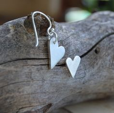 Sterling Silver Mismatched Earrings, Small Heart Stud & Big Heart Dangle Earring Mix, Assymetrical Earrings - gift for her, Unique earrings. Simple Earrings, Heart Earrings, Dangle Earrings, Silver Earrings, Silver Jewelry, Minimalist Earrings, Minimalist Jewelry, Earrings Handmade, Handmade Jewelry