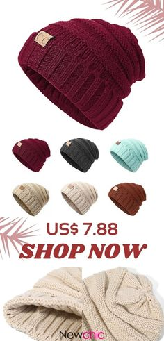 1bc6349dea8 Women Men Warm Soft Knitting Bonnet Hats Winter Outdoor Snow Leisure  Stripes Casual Beanie Cap is hot sale on Newchic.