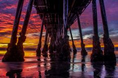 """""""Beauty From Beneath"""" - This was taken about 10 minutes prior to last nights sunset when the color levels had reached their climax. Sometimes you can find beauty where you least expect it like it was here under the Imperial Beach Pier in San Diego, CA. Photo Alex Baltov Photography Imperial Beach Pier, Joy Of Life, San Diego, California, Sunset, World, Places, Photos, Photography"""