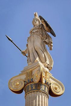 Greece, Attica, Athens, Statue of Athena outside the Academy of Arts.
