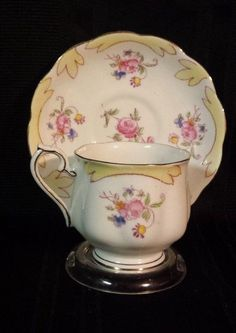 Vintage Royal Albert Tea Cup & Saucer Yellow Rim Hand Painted Flowers #2521 | Antiques, Decorative Arts, Ceramics & Porcelain | eBay!