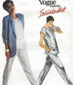 1980s Tamotsu Casual Jacket, Button Front Top & Tapered Pants Perfect for Linen Vogue Sewing Pattern 1904 Size 8 10 12 Bust 31 1/2 to 34