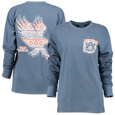 Women's Navy Blue Auburn Tigers Coastal Aztec Long Sleeve T-Shirt