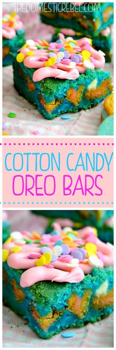 These incredibly sweet Cotton Candy Oreo Bars have chewy Cotton-Candy flavored Oreos and white chocolate chips nestled inside the sweet, gooey layers. They're so fun and sprinkly!