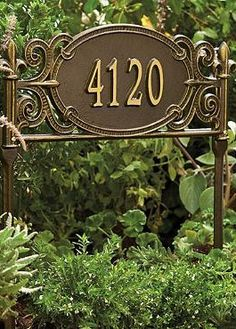 With an all-weather finish topping intricate scroll work and delicate details, the Marietta Lawn Plaque proudly displays your address anywhere in your outdoor space.
