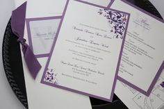 Floral Layered Wedding Invitation, Wedding Program and Menu Card