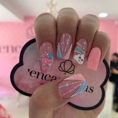 Coffen Nails, Nail Manicure, Cute Nails, Hair And Nails, Nail Art Designs Videos, Nail Polish Designs, Nail Designs, Acrylic Nails Coffin Pink, Kawaii Nail Art