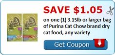 New Coupon!  Save $1.05 on one (1) 3.15lb or larger bag of Purina Cat Chow brand dry cat food, any variety - http://www.stacyssavings.com/new-coupon-save-1-05-on-one-1-3-15lb-or-larger-bag-of-purina-cat-chow-brand-dry-cat-food-any-variety-2/