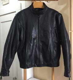 Unik Leather Motorcycle Jacket Size 48 Mens XL Black   eBay