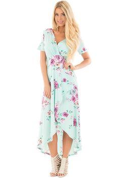 Lime Lush Boutique - Mint Floral Print Surplice Hi Low Maxi Dress, $46.99 (https://www.limelush.com/mint-floral-print-surplice-hi-low-maxi-dress/)