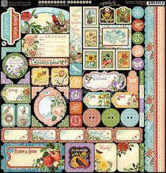 Graphic45 TIME TO FLOURISH 12x12 Cardstock Sticker Sheet scrapbooking