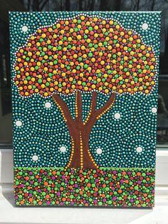 Skittles Tree - dot art - dot painting - mandala - pointillism - abstract art by ColleensArtBoutique on Etsy https://www.etsy.com/listing/278867244/skittles-tree-dot-art-dot-painting