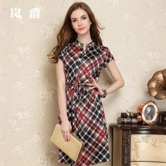 2014 seda verão um- vestido peça seda amoreira um- pedaço vestido curto- cinto de manga ly5603 US $188.60