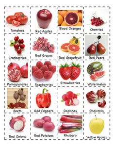 JL ~ Colorful fruits and veggies great for sorting! Preschool Is Fun Planning Activities: Fruits/Vegetables Fruit And Veg, Fruits And Vegetables, Red Fruit, Fruit Art, Planting A Rainbow, Preschool Food, Preschool Activities, Vocabulary Activities, Preschool Lessons