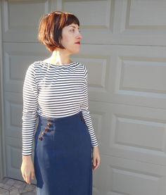Here are my first makes for the New Year- a nautical inspired tweed wrap skirt V9209 with a Breton stripe knit top! I feel so elegant and chic! Nautical looks are on trend this season which makes this perfect for my work wardrobe.  I've been dying to try out this Vogue pattern midi wrap skirt with its button detail for a few months now.  I love the highwaist, button closure plus faux button and the interesting angle of the wrap. So versatile- I can dress it up with heels or wear it with my…