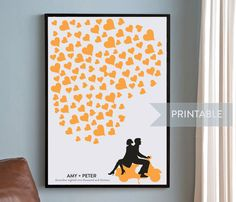 Wedding Guestbook Alternative, Silhouette of Couple on Vespa, Modern Wedding Guest Book, Personalized, up to 200 guests, Downloadable