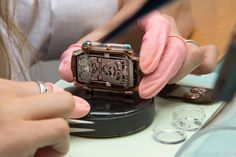 The movement of the Christophe Claret X-TREM-1 upside down in its case with the case back still to be fitted