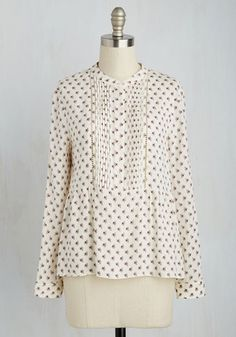 Before, During, and Laughter Top - Cream, Multi, Floral, Print, Work, Fairytale, Long Sleeve, Spring, Woven, Better, V Neck, Mid-length