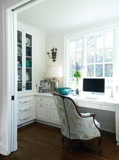 Home Office Desk Cabinet Ideas. Traditional home office with built in desk cabin… Home Office Desk Cabinet Ideas. Traditional home office with built in desk cabinet. Home Office Cabinetry. Bureau Design, Study Design, Library Design, Home Office Desks, Office Furniture, Office Chairs, Office Nook, Office Setup, Office Storage